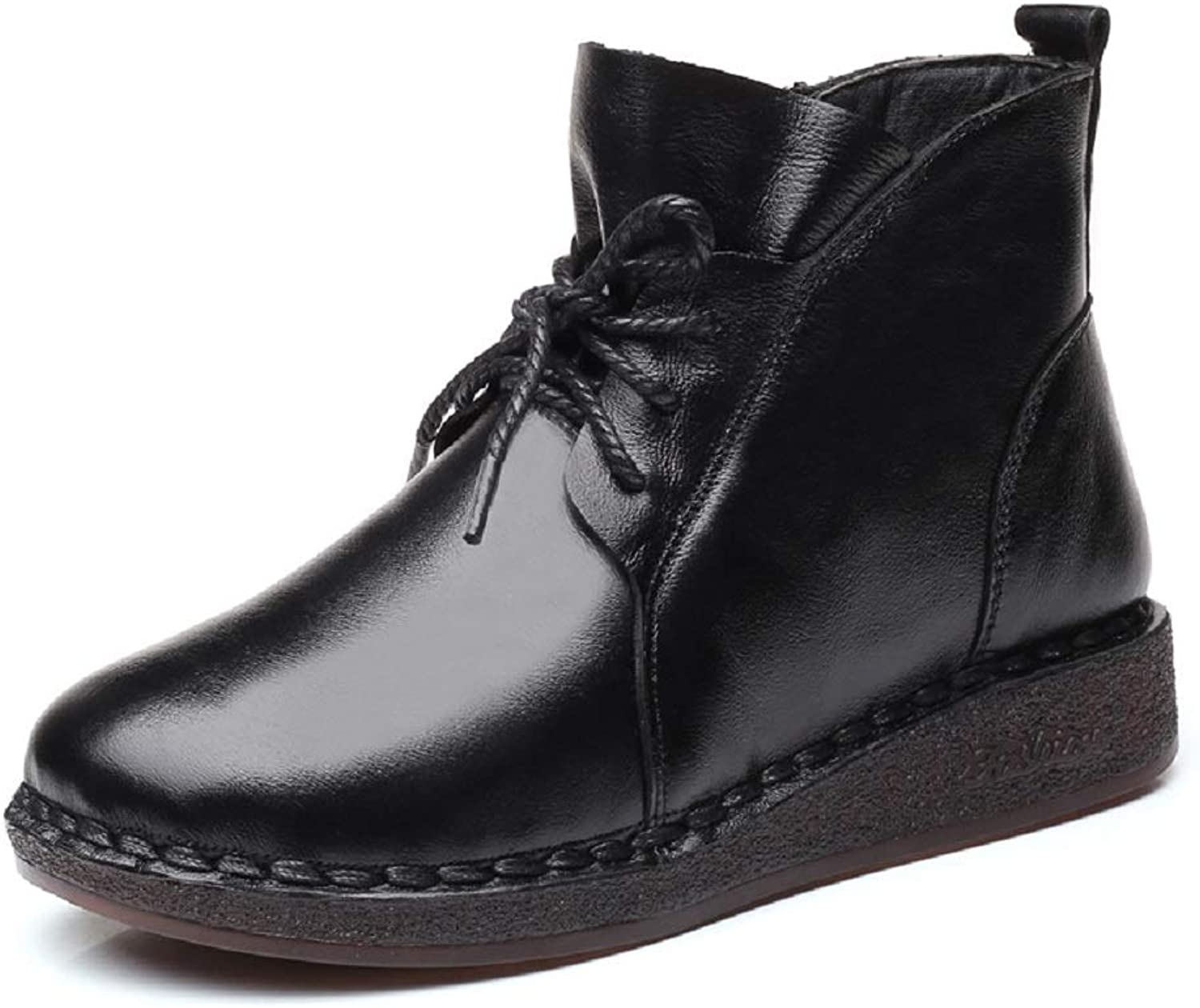 LingGT Fur Lined Boots Women Leather Flat Casual Zipper shoes (color   Black, Size   CA 7)
