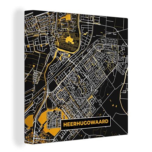 Canvas Schilderijen - Plattegrond - Heerhugowaard - Goud - Zwart - 90x90 cm - Wanddecoratie - canvas met 2cm dik frame