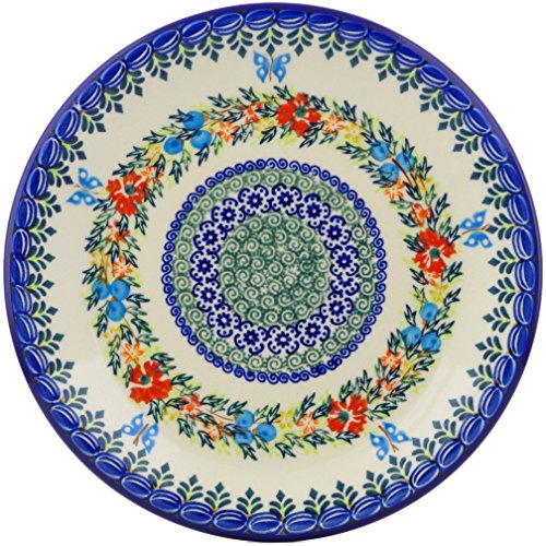 Polish Pottery 9¾-inch Lunch Plate (Red Cornflower And Blue Butterflies Theme) Signature UNIKAT + Certificate of Authenticity