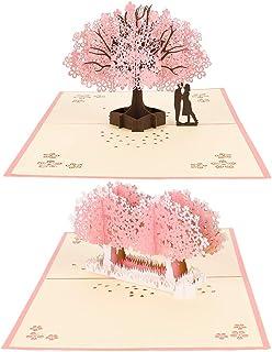 falllea 2 Piezas de Tarjeta 3D Amor Pareja Tarjeta Pop-up Tarjeta de Flores de Cerezo Hecha a Mano Tarjetas para Boda Cumpleaños Navidad Aniversario Día de San Valentín