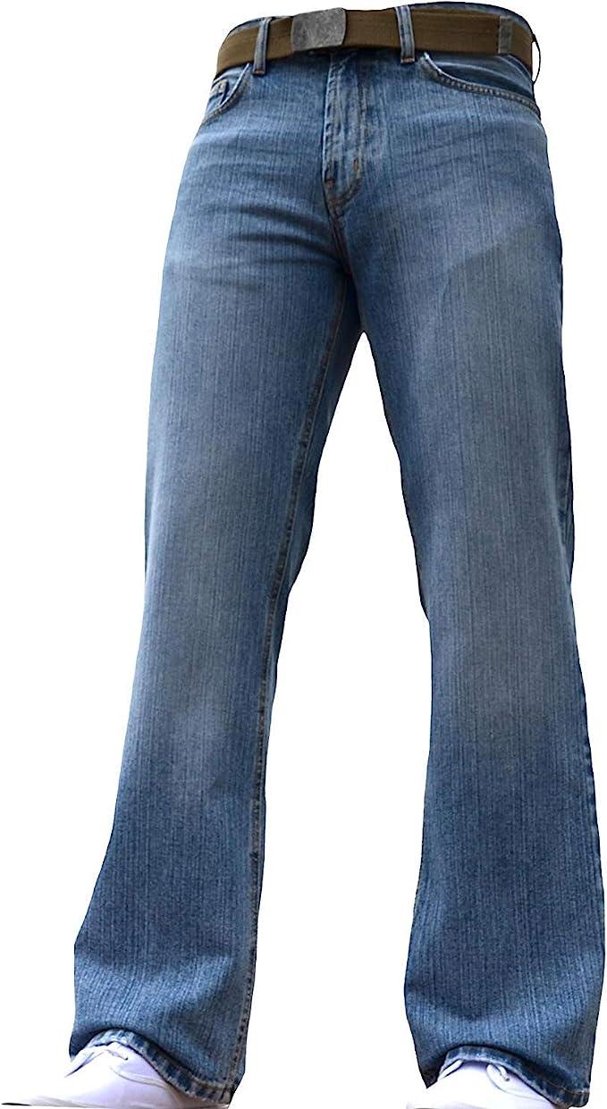 1970s Men's Clothes, Fashion, Outfits BNWT Mens Wide Leg Bootcut Flared Blue Heavy Denim Jeans  AT vintagedancer.com