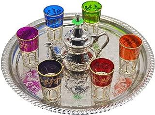 una bandeja de 25 cm de diametro 3 vasos marroquies juego de t/é marroqui artesanal una tetera