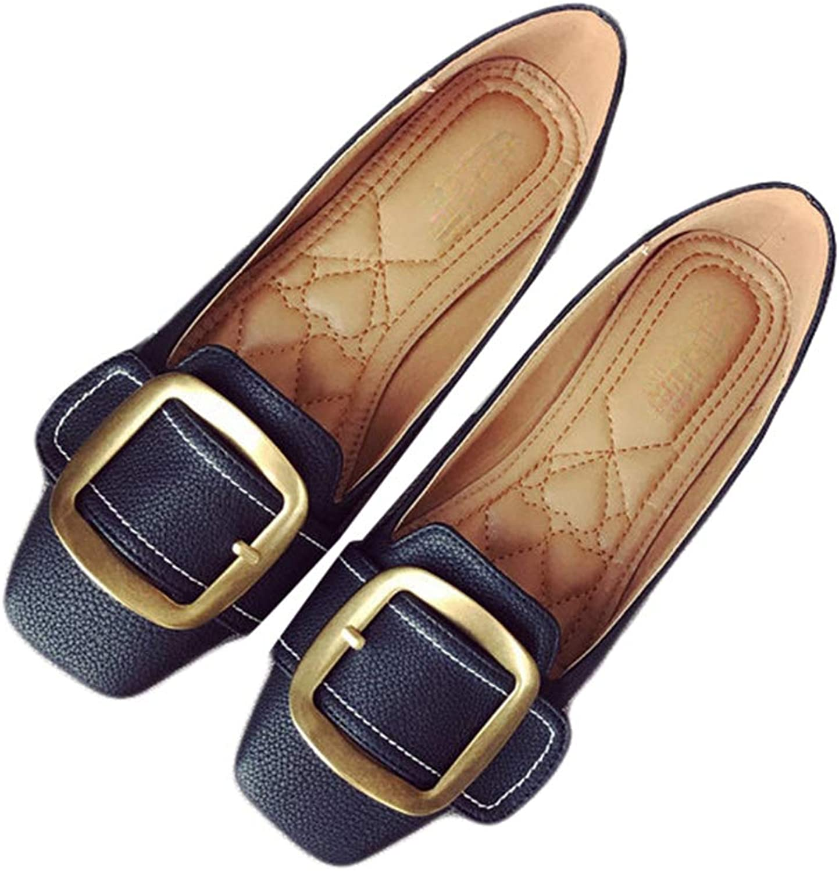 August Jim Women Elegant Flats Buckle Round Toe Ladies Soft Comfortable Spring Moccasins