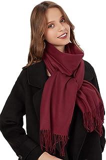 MaaMgic Schal Damen Warm Herbst unifarben Baumwolle mit quasten/fransen, 40 Farben Einfarbig & Kariert Pashmina xl Schals Stola MEHRWEG