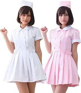 【 サイズ選べる 】monoii ナース 服 コスプレ ピンク セクシー ナースコス カチューシャ 衣装 ハロウィン 女医 白衣 仮装 かわいい c932