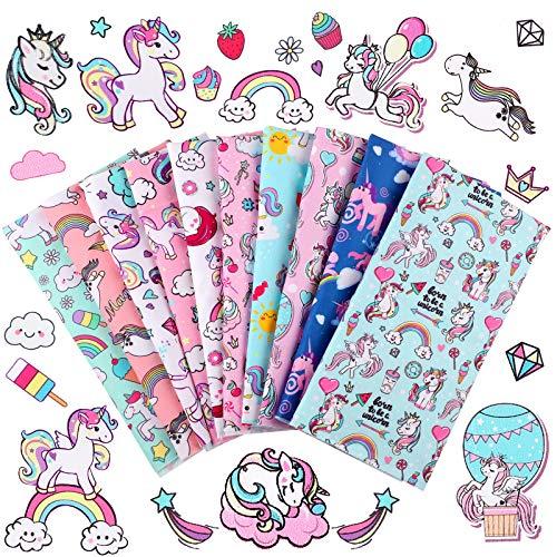 10 Pieces Unicorn Fabric Squares 20 x 20 Inch Precut Quilting Fabric Unicorn Rainbow Cartoon Pattern Fabric Bundles Unicorn Printed DIY Fabric for Home Decor Clothing Craft Sewing Crafts, 10 Designs