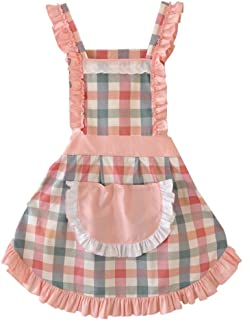 CRB Fashion Ladies Women for Cooking Baking Chef Apron with Pocket (Checkered)