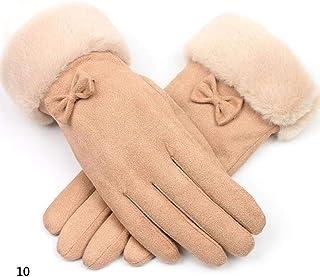 Niome Suede Gloves Women Winter Fleece Velvet Touch Screen