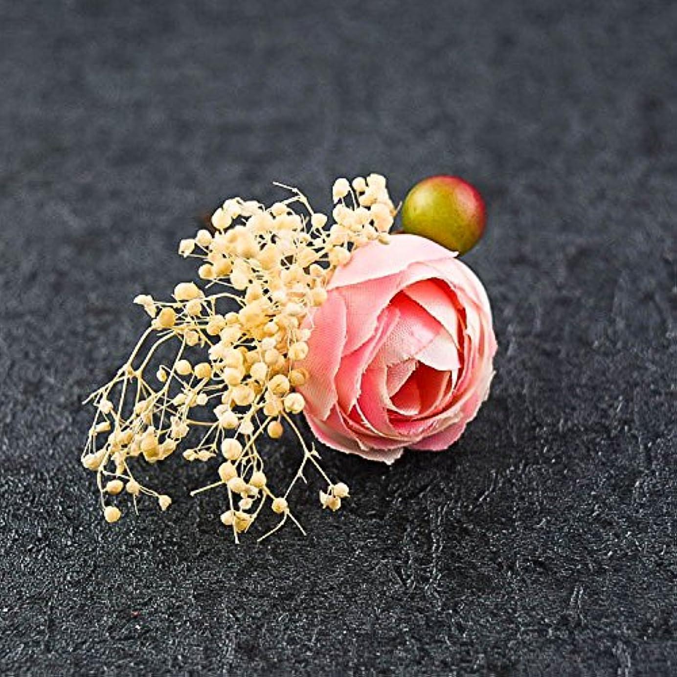 パターンおめでとう賞賛HuaQingPiJu-JP クラシックフラワーヘアクリップマニュアルパレス結婚式アクセサリーエレガントなコートヘアクリップギフト(ライトピンク)