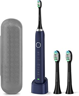 Sonic Electric Toothbrush, USB Rechargeable Toothbrush for Adults and Kids, Portable Travel Electric Toothbrush with 2 Brush Heads, 5 Modes 2 Minutes Timer, IPX7 Waterproof-Blue