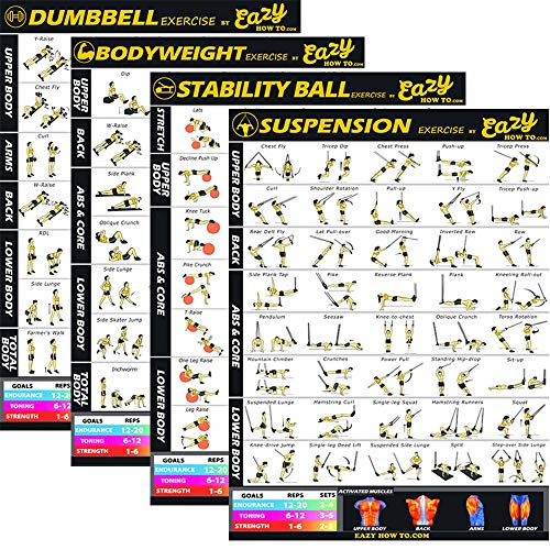 Eazy How To 4 Pack Bundle Übung Workout Poster Big 20 x 28 Zug Ausdauer, Ton, Build Kraft & Muskel Home Fitness-Diagramm