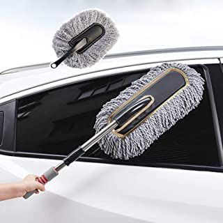 Car Duster, Multipurpose Car Wash Brush Exterior And Interior Microfiber Duster with Extendable Handle for Cleaning (Grey)