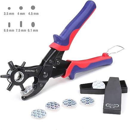 WORKPRO Alicates Sacabocado Agujero Perforadora Puzones de 6 Tamaños 3.5 - 7.5 mm Sacador para Cuero Piel Cinturones Correas con 6 Placas