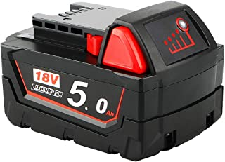 Waitley M18 18V 5.0Ah Replacement Battery Compatible with Milwaukee M18 M18b 48-11-1850 48-11-1840 48-11-1820 48-11-1852 4...