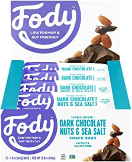 Fody Foods Vegan Protein Nut Bars | 8g Protein Snack Bar | Low FODMAP Certified | Gut Friendly IBS Friendly Snacks | Gluten Free Lactose Free Non GMO | Dark Chocolate Nuts and Sea Salt, 12 Count