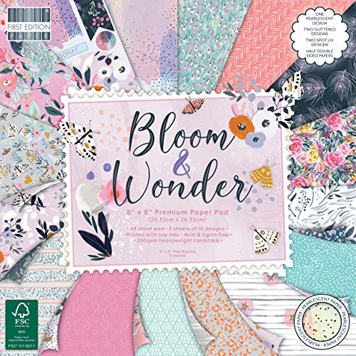 """First Edition FEPAD225 FSC 8x8 Paper Bloom & Wonder-48 Sheet Pad, 200gsm Heavyweight Cardstock, Acid & Lignin Free, Soy Inks-for Card Making, Scrapbooking, Home Decor & Papercraft, Multicolour, 8""""x8"""""""