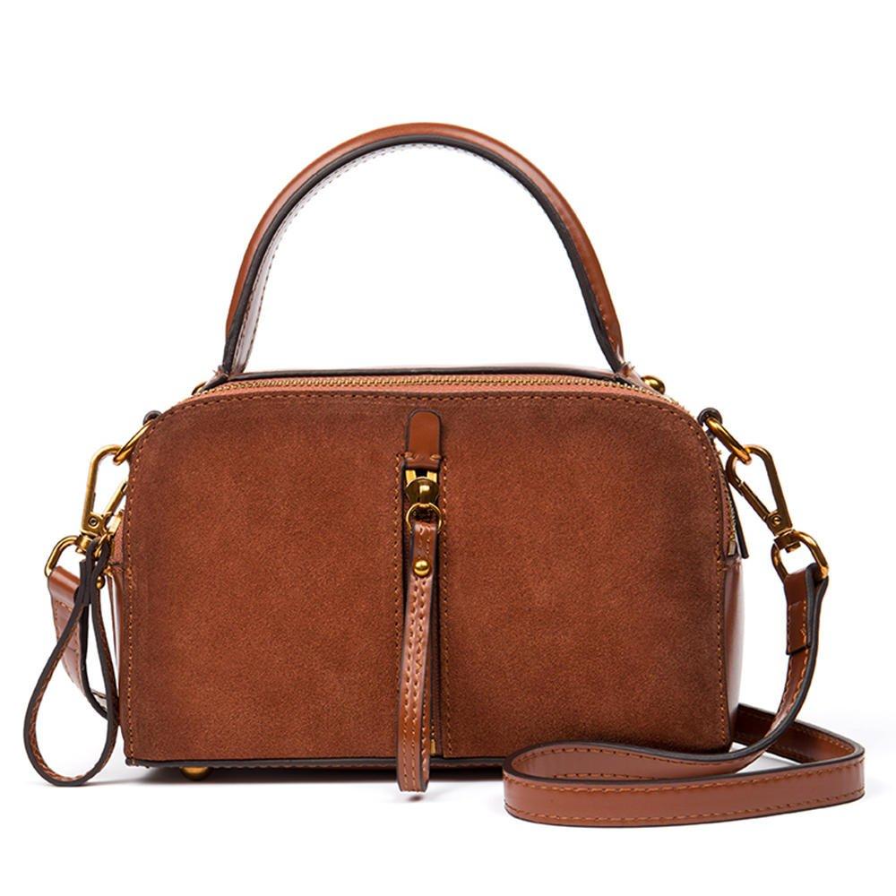 海谜璃(HMILY)新款优质牛皮女士时尚手提包迷你复古小方包潮流百搭单肩斜挎包 H7000 黄棕色
