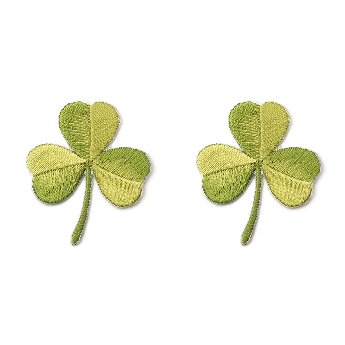 YOUOR 2 Pcs Green Leaf Embroidered Patches Four Leaf Clover Lucky Irish Shamrock Emblem Iron On or Sew On Patches (Three Leaf)