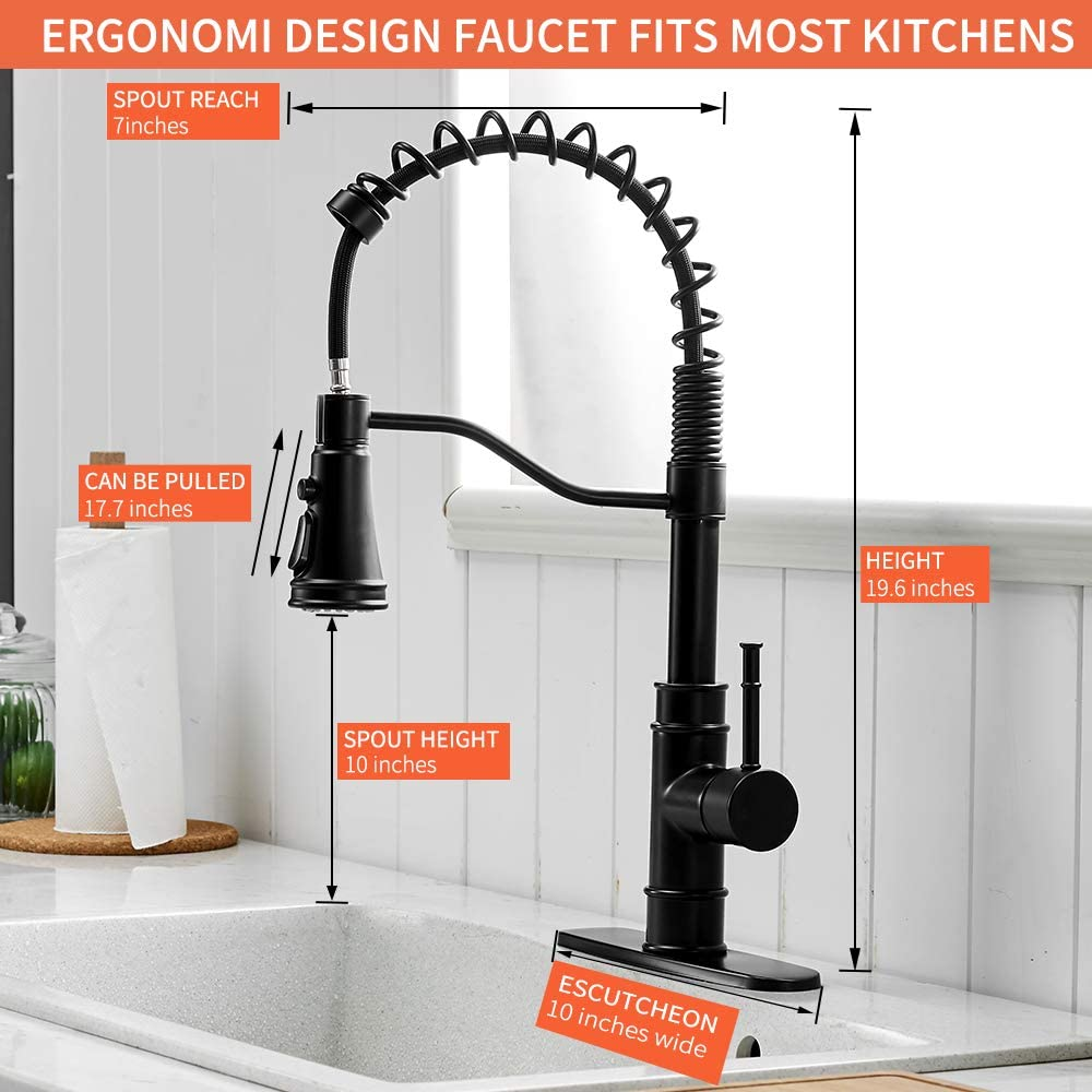 OWOFAN Kitchen Sink Faucets with Pull Down Sprayer Solid Brass Brushed Nickel Single Handle Single Hole Faucet for Farmhouse rv Utility bar Laundry Sinks