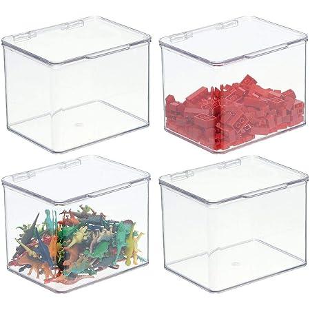 mDesign boîte de rangement pour jouets – boîte en plastique robuste empilable avec couvercle intégré – casier de rangement enfants pour jouets et ustensiles de bricolage – lot de 4 – transparent