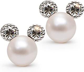 Cute Pearl Earrings for Women, Mokey Earrings, 7mm White Faxu Pearl, Small Size Earrings