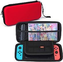 Nintendo Switch 専用 ケース 【02.レッド】 大容量 収納 バッグ EVA素材 セミハード 耐衝撃 ストラップ付き switch-case-re [video game]