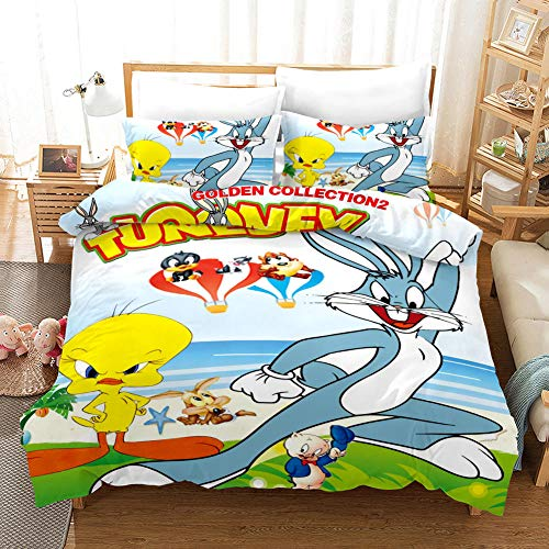 GuoDamei Bugs Bunny Duvet Cover Set Single Bed Size 135x200 cm Bedding Microfiber 2 pcs Set with Zipper Closure + 1 Pillowcase 50x75 cm Ultra Soft Easy Care Hypoallergenic
