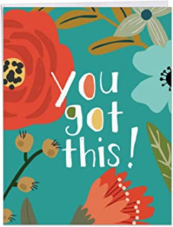 Big All Occasions Greeting Card - Inspirational Quote 'You Got This' - Colorful Floral Images, With Envelope - A Gift to Congratulate Pregnancy, Birthday, Wedding Large Size 8.5 x 11 Inch J6631EOCG