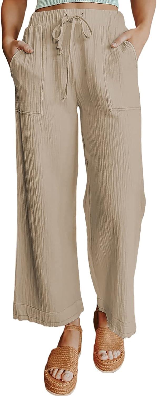 ROSKIKI Women's High Waist Drawstring Lightweight Pockets Wide Leg Solid Color Loose Fit Lounge Pants