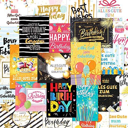 24 Holographic Glückwunschkarten im Sortiment, 24 Designs Geburtstagskarten Packung mit 24 Umschlägen und 24 Aufklebern, für alle Altersgruppen geeignet