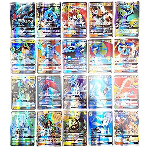 BiLTTy Juego de 100 Cartas de Pokemon, Cartas de Juego de Dibujos Animados Variados, Cartas de Comercio para niños, Cartas de Comercio GX Que Incluyen 89 GX + 11 de Entrenador