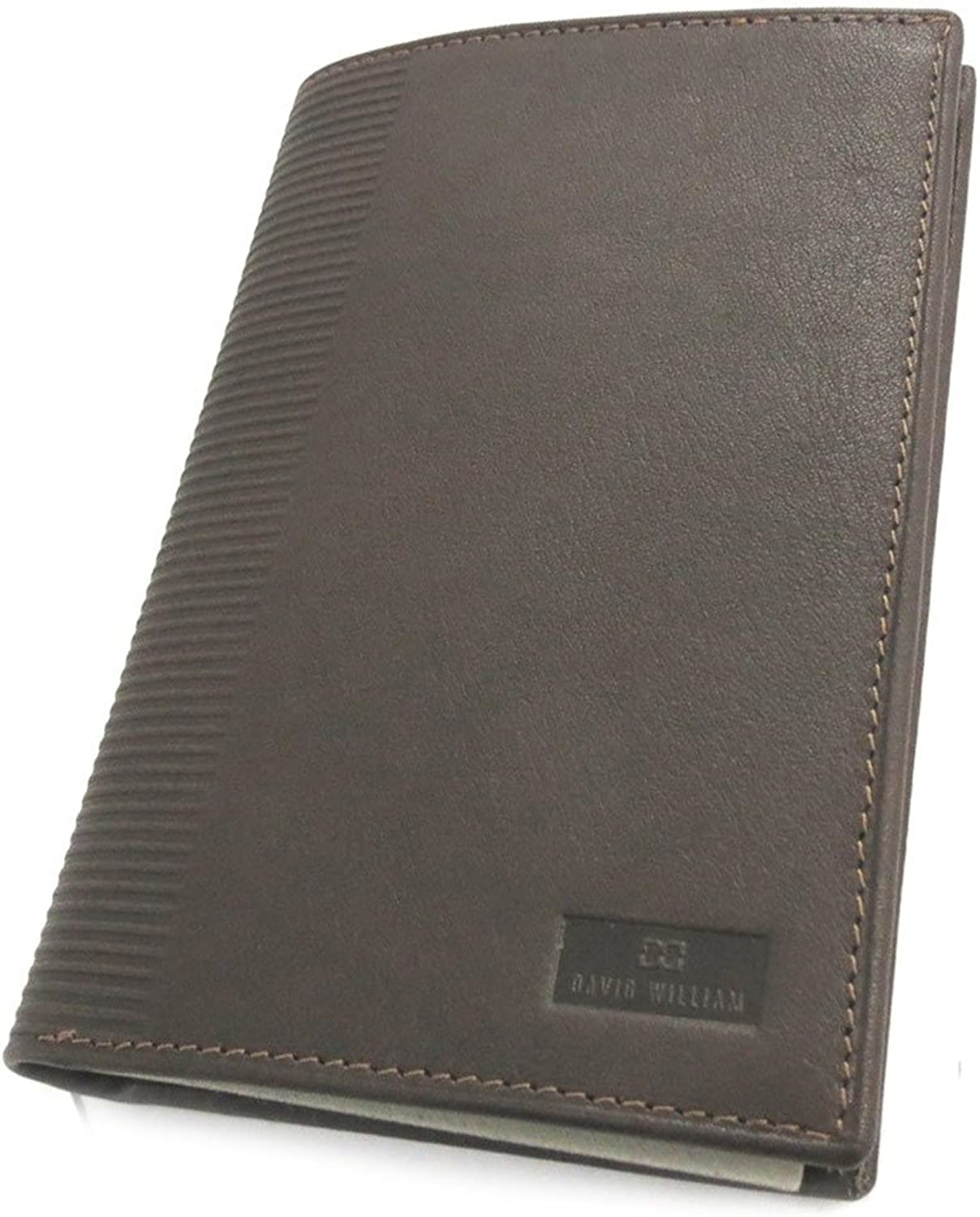 David William [N2458]  Wallet french leather 'David William' brown  2 components (fat cow leather) antipiracy.