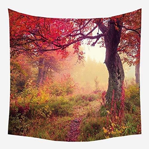 Tapiz colgante de pared paisaje río tapices de pared hermoso paisaje cortina flor árbol revestimiento de pared tela de fondo a4 180x200cm