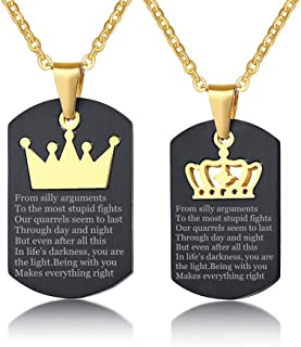 Sunling Stainless Steel Him Her Love Poem Quotes Couple Necklace Set for Boyfriend,Girlfriend King Queen Crown Military Dog Tag Pendant with Box Personalized for Wife,Husband