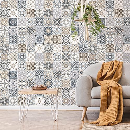 Pegatinas de pared de cocina – Azulejos de cemento adhesivo para pared – Pegatinas de azulejos – Pegatinas de azulejos adhesivos de pared para cuarto de baño 10 x 10 cm – 60 piezas de cemento adhesivo