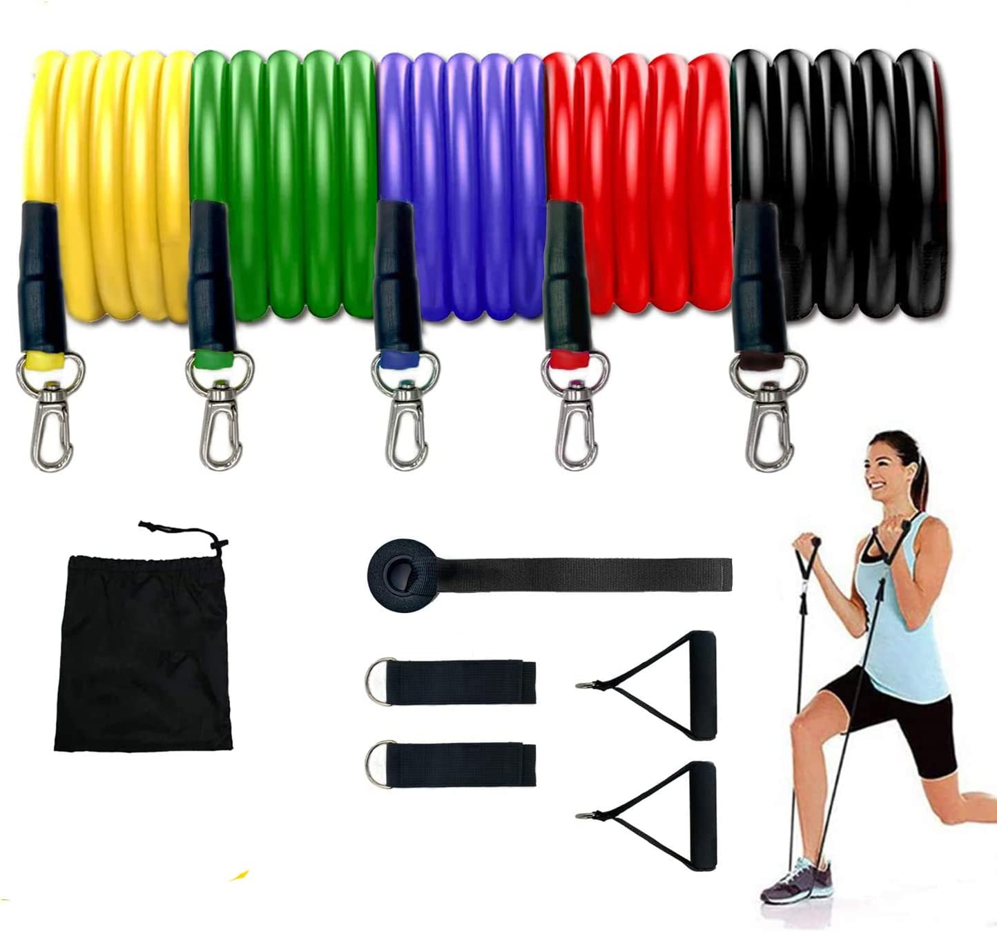 QDWLY Resistance Bands Set - 5-Piece Exercise Bands - Portable Home Gym Accessories - Stackable Up to 100 lbs. - Perfect Muscle Builder for Arms, Back, Leg, Chest, Belly, Glutes