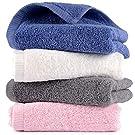 ADUOKI フェイスタオル 速乾 タオル 綿100% ホテルタオル 4枚セット 吸水速乾 ふわふわ 肌触り抜群 抗菌防臭 35cm×75cm…