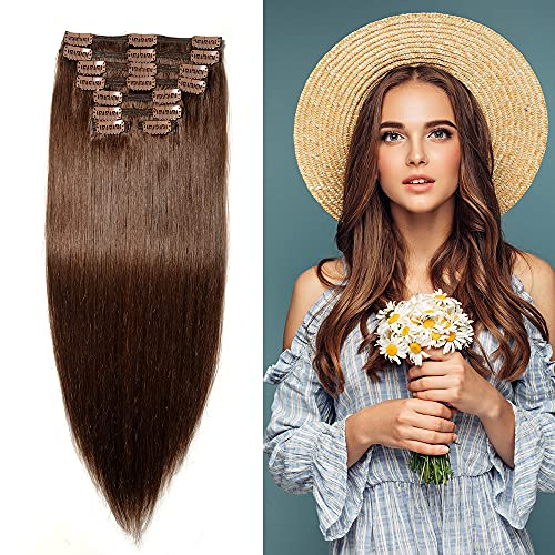 """160g Double Weft Clip in 100% Remy Human Hair Extensions #4 Medium Brown Grade 7A Quality Full Head Thick Thickened Long Soft Silky Straight 8pcs 18clips for Women Fashion 22"""" / 22 inch"""