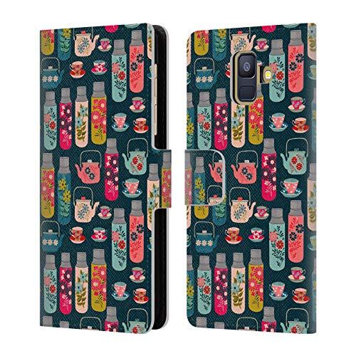 Officiële Andrea Lauren Design Thermoskan Voedsel Patroon Lederen Book Portemonnee Cover Compatibel voor Samsung Galaxy A6 (2018)