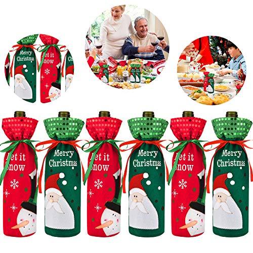6 Sätze Weihnachten Flaschen Abdeckungen Hässliche Pullover Wein Abdeckung Flasche Dekor für Weihnachtsfeier Tisch Dekorationen (Farbe Satz 2)
