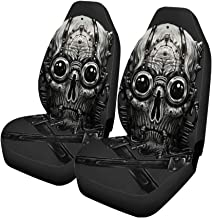 Semtomn Set of 2 Car Seat Covers Adult Steampunk Skull Adjustable Wrench Digital BDSM Belt Braids Universal Auto Front Seats Protector Fits for Car,SUV Sedan,Truck