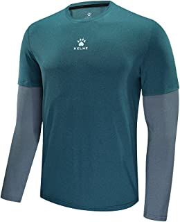 KELME Men's T-Shirt Long-Sleeved Quick-Drying Breathable Running Sports Training Shirts Plus Size[S-6XL]
