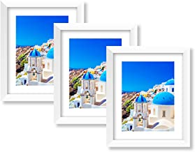 TutuBeer White 8x10 Picture Frame White 8x10 Frame Picture Frame for 8x10 White White Picture Frame for 8x10 with 6x8 Mat for Wall and Table Stand Photo Artwork Display Set of 3 for Mother's Day