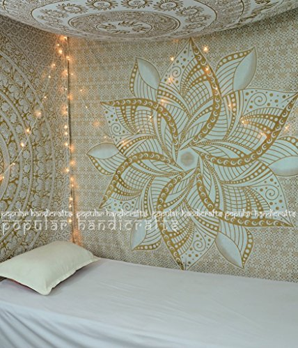Popular Handicrafts Kp726 Large Moon Ombre Gold Tapestry Indian Mandala Wall Art Hippie Wall Hanging Bohemian Bedspread Multi Purpose Tapestries 84x90 Inches, Black and Gold