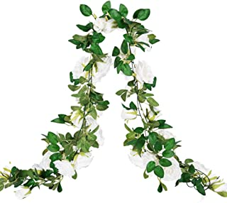 Meiliy 2PCS Artificial Rose Vine Garland Hanging Roses Silk Flower Garland for Wedding Arch Decorations Baby Shower Party Backdrop, White