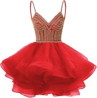 Women's Organza Homecoming Dress Short for Junior Crystal Beaded Prom Party Gowns 2019