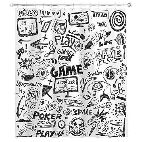 SVBright Video Game Shower Curtain Black and White Sketch Style 60Wx72L Inch Gaming Design Racing Monitor Device Gadget Kids12 Pack Hooks Polyester Waterproof Fabric Bathroom Bathtub Panels