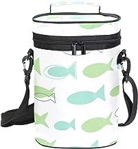 Bolsa portabotellas para vino de MALPLENA, 2 bolsillos para botellas, diseño de peces de dibujos animados, bolsa de vino con acolchado externo grueso, fácil de transportar para viajes, picnics