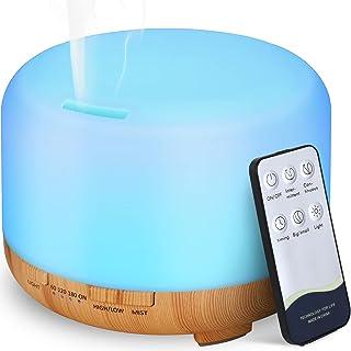 Hianjoo Aroma Diffuser, 450 ml, Luchtbevochtiger met Timer, Ultrasone Aromatherapie Diffuser, Led met 7 Kleuren, voor Kant...