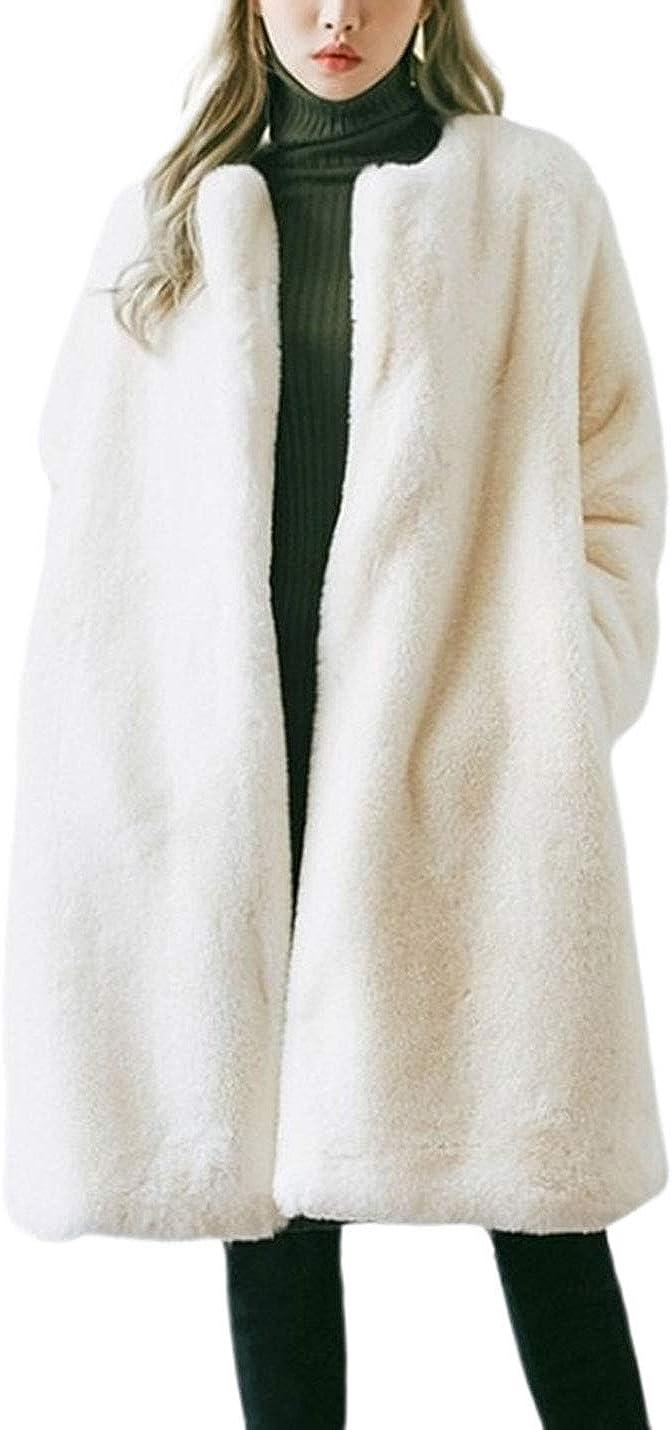 PUWEI Women's Oversized Long Open Front Fuzzy Faux Fur Shearling Jacket Coat